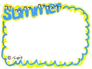 モンスター風の目玉がかわいいSUMMERの手描き文字のフレーム:640×480pix