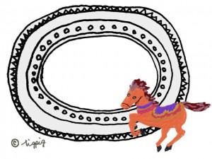大人可愛くてメルヘンな馬のイラストと楕円のフレーム:640×480pix