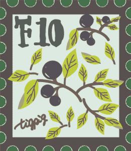 シンプルな木の実の枝いっぱいの切手風イラスト:400×460pix