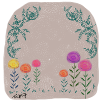 ヨーロッパの絵本のような北欧風の花と葉っぱのフレーム(2点):400×400pix