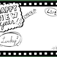 年賀,新年に使えるポップな手書き文字HAPPY NEW Yearの映画フィルム風フレーム(640×3480pix)