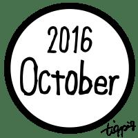 10月のホームページ制作に使える手書き文字October 2016のモノトーンの丸いラベル素材:600×600pix