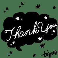 【ギフトの文字】Thank youの手書き文字(白抜き)と星のフキダシ(黒)素材
