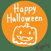 ハロウィンに使えるhappy Halloweenの手書き文字とカボチャのイラストのwebデザイン素材(丸形,オレンジ):600×600pix