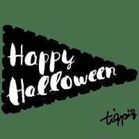 【ハロウィン】Happy Halloweenの手書き文字のフラッグ(旗)のwebデザイン素材(三角形)