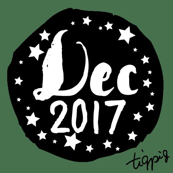 【12月】Dec 2017の手書き文字とラフな丸いラベルシールみたいな背景(黑)のwebデザイン素材:600×600pix