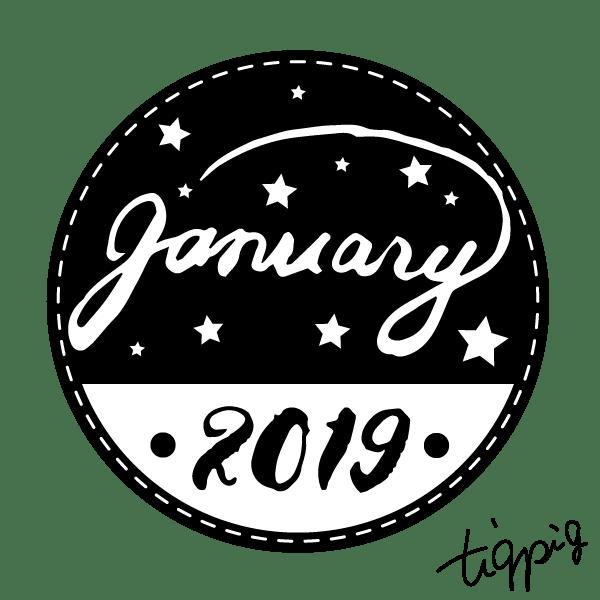 【1月】january 2019の手書き文字とラベルシールみたいな円の背景(黑)のwebデザイン素材:600×600pix
