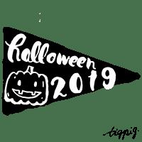 【ハロウィン】October(10月)に使えるの手書き文字halloween 2019とかぼちゃのイラストのフラッグ(旗)風のwebデザイン素材:600×600pix