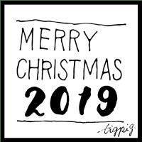 【クリスマス素材 2019】 MERRY CHIEISTMAS 2019 の手書き文字のとラフな線の四角形のモノトーンのwebデザイン素材:500×500pix