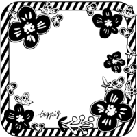 【フレーム】モノトーンの北欧風の小花と角丸の正方形(300pix)
