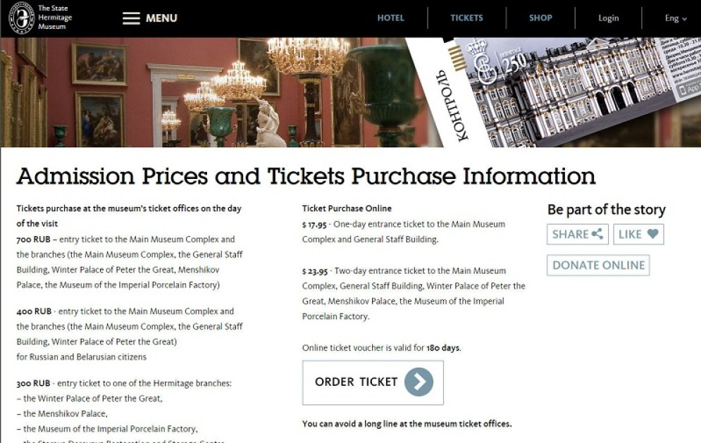 online tickets to Hermitage State Museum in Saint Petersburg