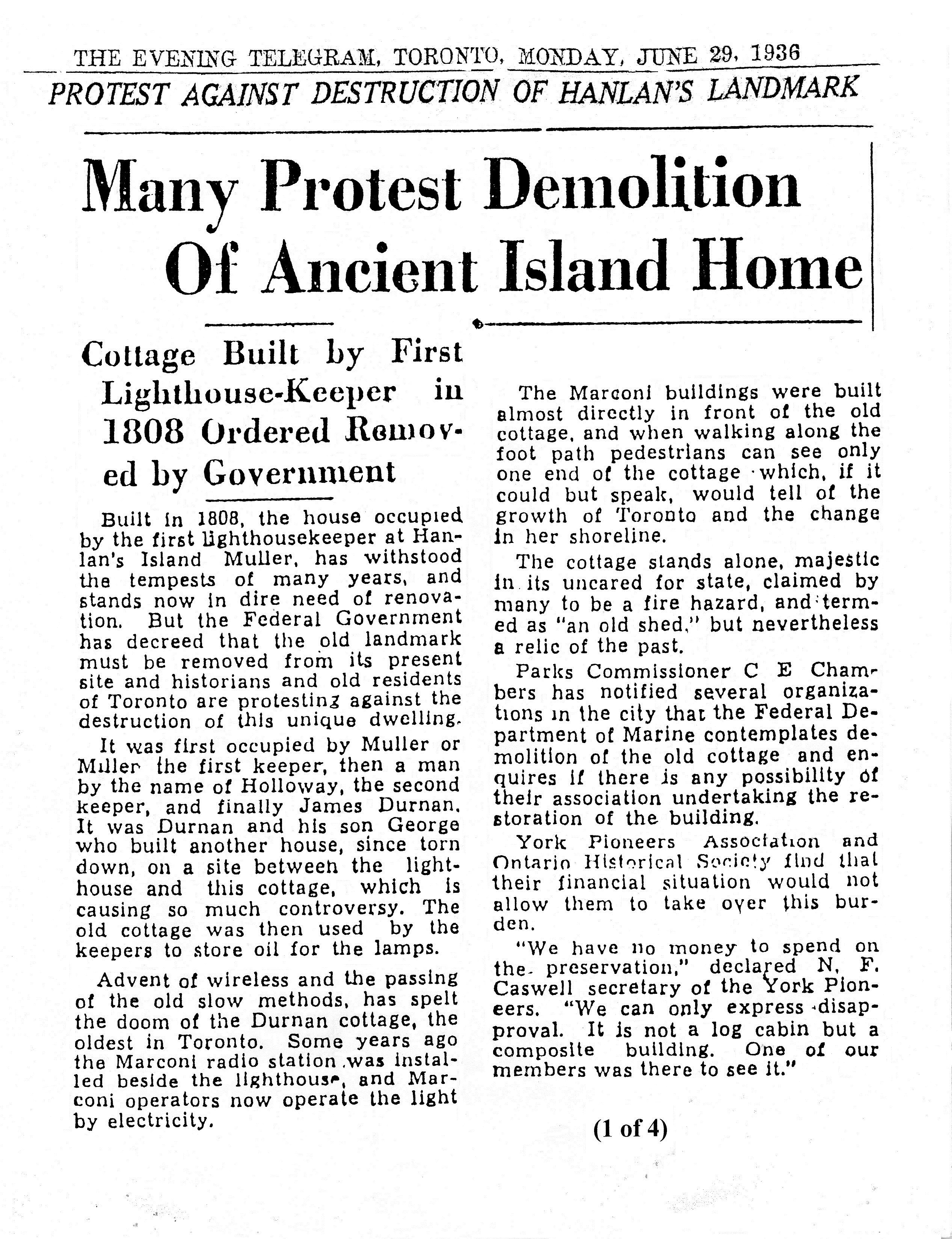 Protest Against Destruction of Hanlan's Landmark