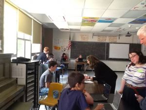 Visitors to Essex Middle School had the opportunity to chat with students about some of their technology explorations over the school year.