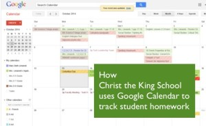 how to use Google Calendar to track student homework
