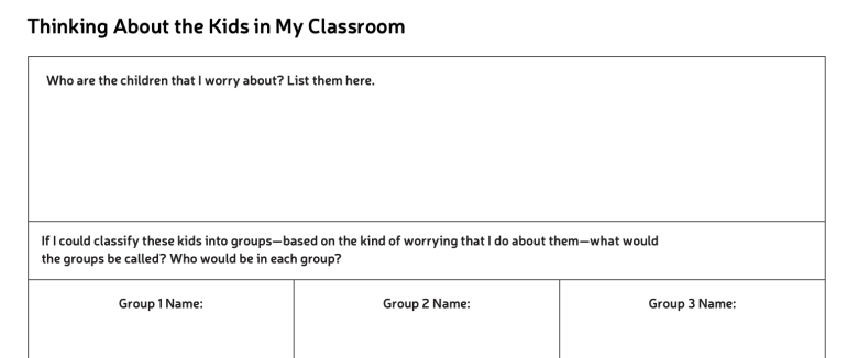 Thinking About the Kids in My Classroom organizer for Kathleen Brinegar interview
