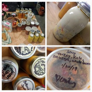 Photo collage of Mason jars of a variety of soups.