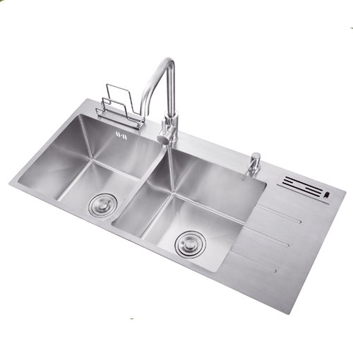 kitchen sink with drain board double bowl