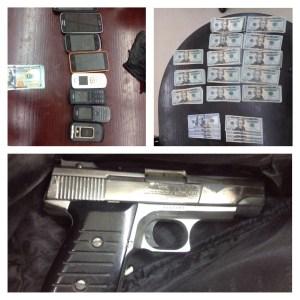 arma, dinero y celulares asegurados
