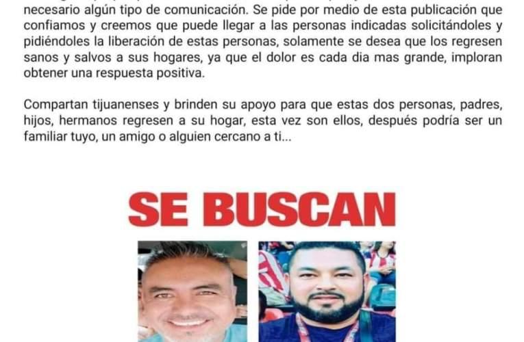 Piden ayuda para encontrar a 2 hombres plagiados