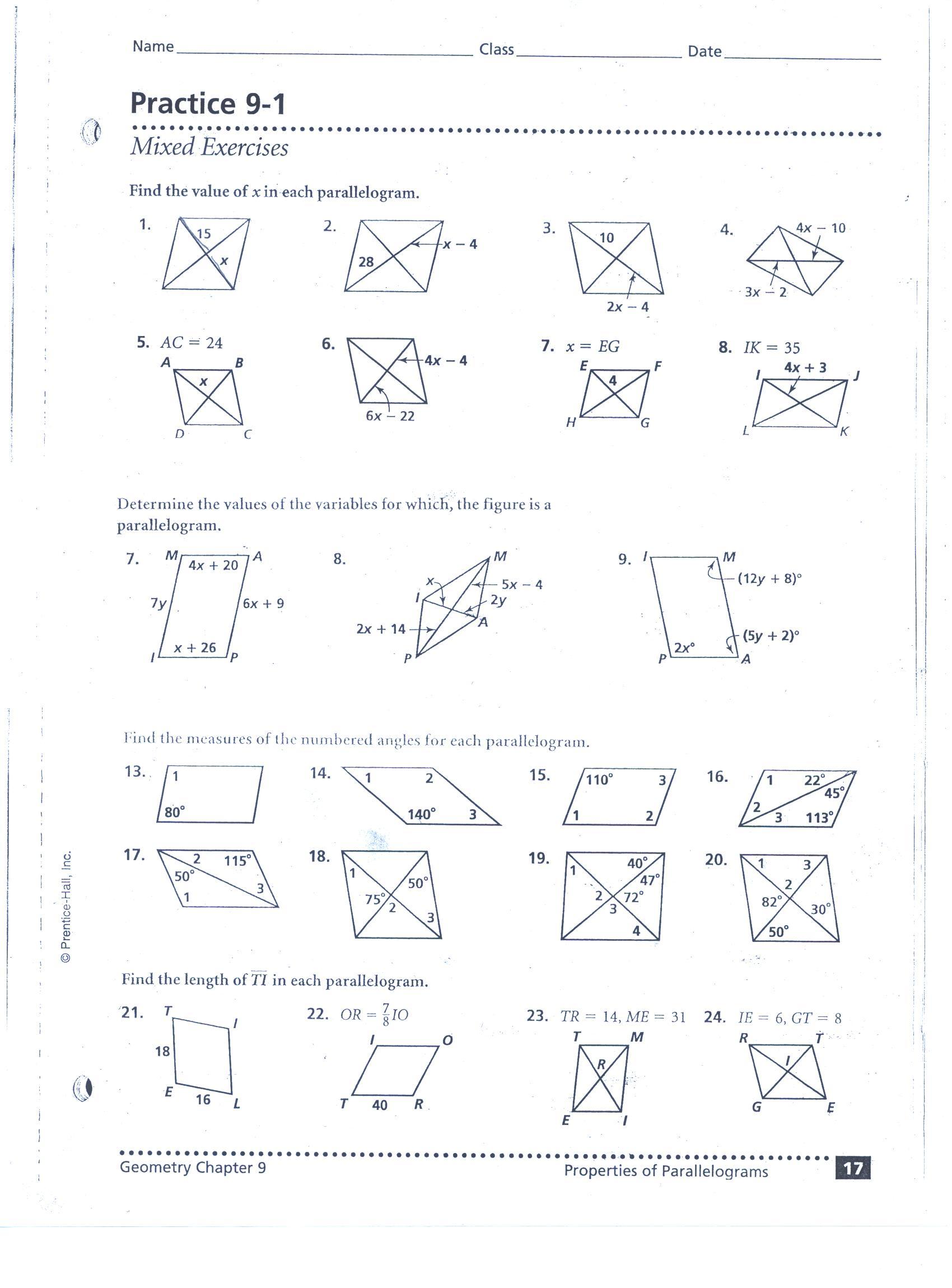 Worksheet On Parallelograms