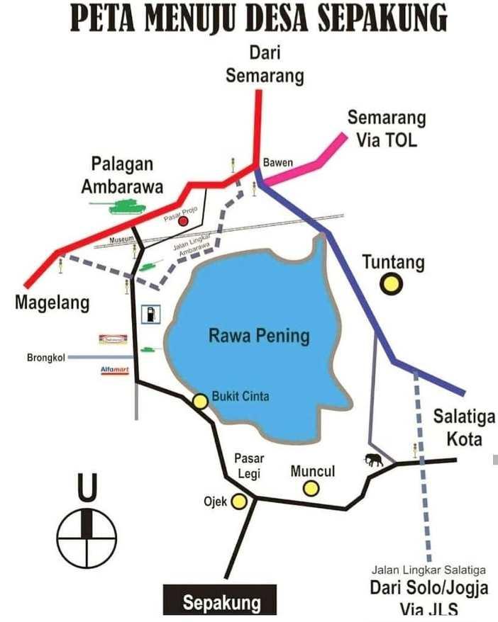 peta jalan menuju tempat wisata banyubiru kabupaten semarang jawa tengah