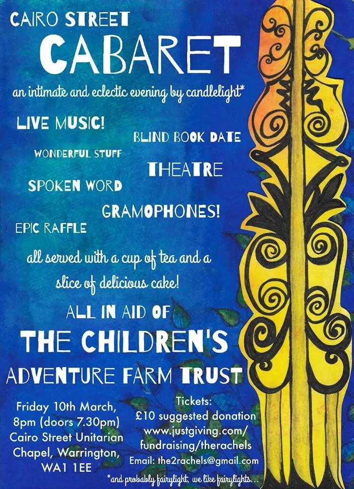 Live music in aid of the Children's adventure Farm Trust 10th March, 7.30pm Cairo St. Unitarian Chapel, Cairo Street, Warrington, WA1 1EE....