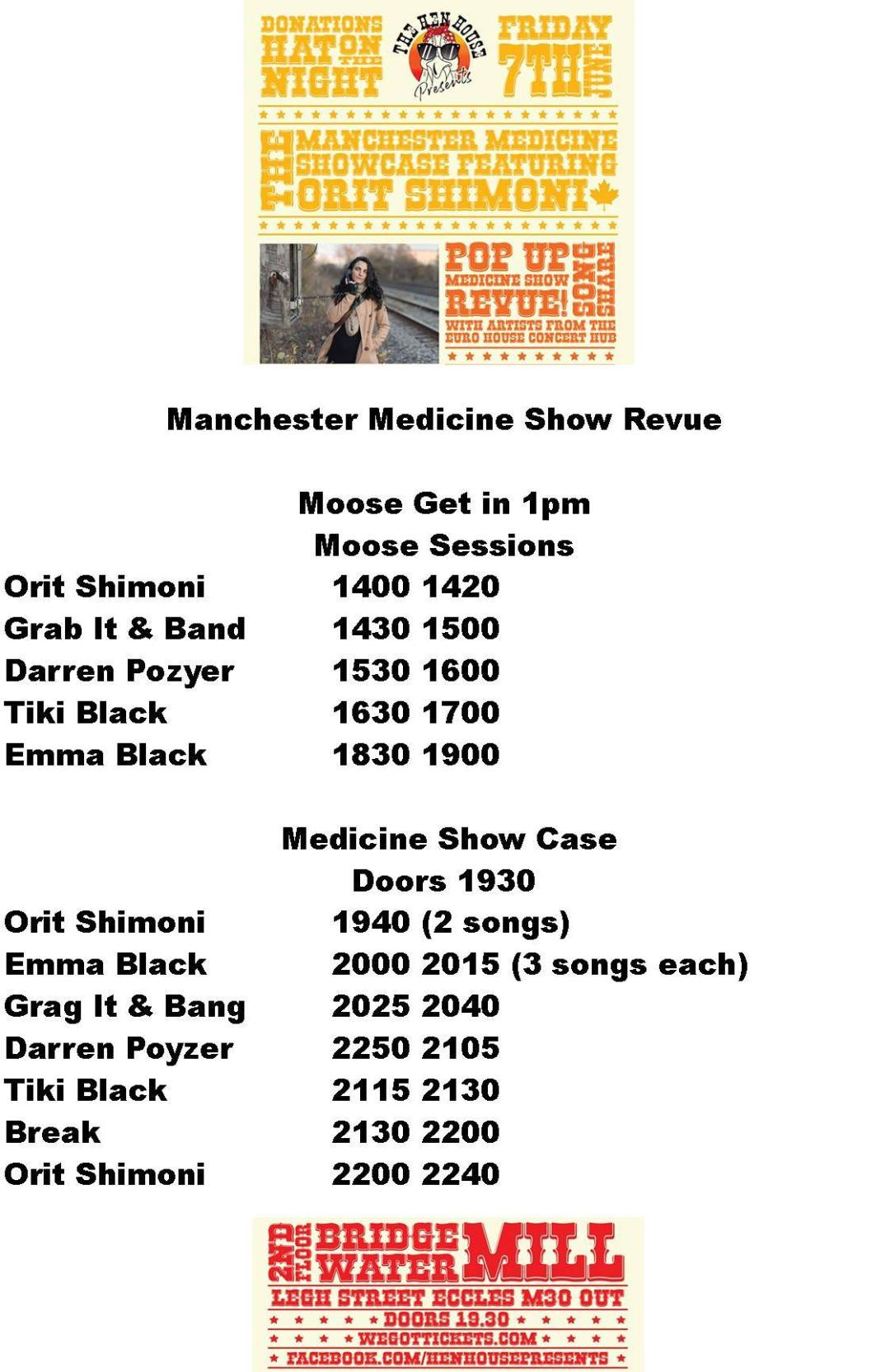 The Manchester Medicine showcase Friday 7th of June 2019 programme
