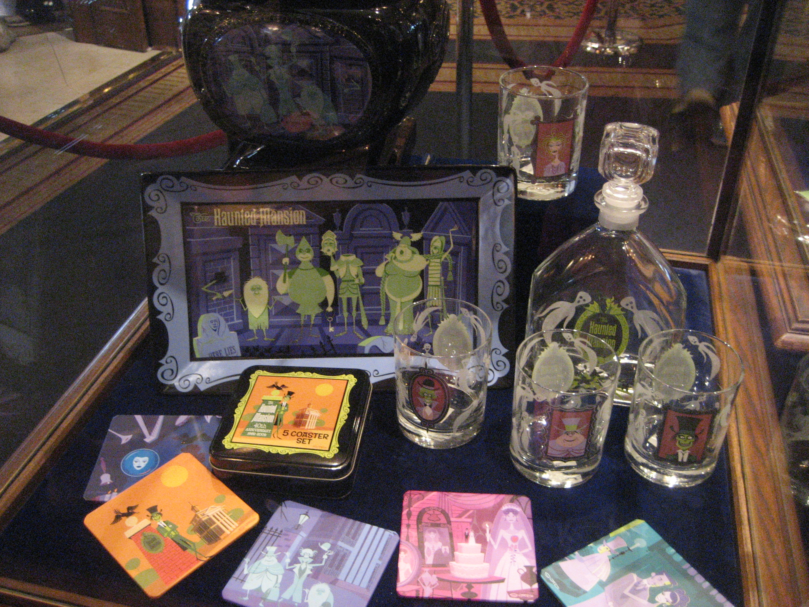 Shag's Haunted Mansion appetizer tray, decanter, glasses and coaster set