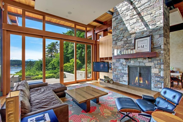 Casa de madera piedra y acero en Bainbridge Island  Tikinti