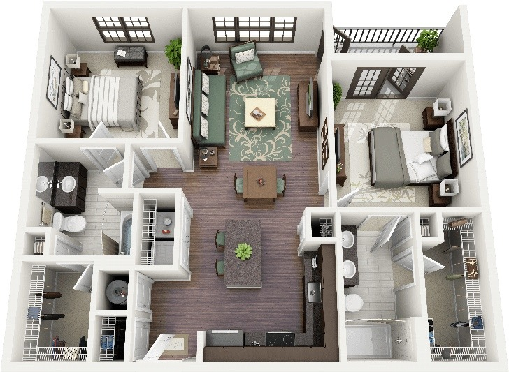 Layout Apartment Bedroom 2 Plan