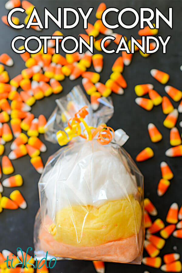 Using the long yarn tail from the beginning and the tapestry needle, sew the bottom of the bag shut. Candy Corn Cotton Candy For Halloween And Free Printable Halloween Tags Tikkido Com