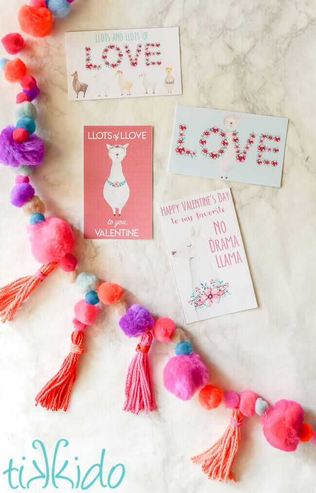 graphic about Free Printable Unicorn Valentines known as No cost Printable Llama Valentines