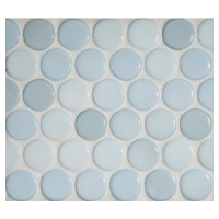 Penny Round Mosaic | Light Agua - Gloss | Complete Tile ...