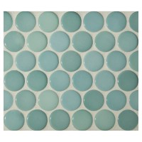 Penny Round Mosaic | Ocean Green - Gloss | Complete Tile ...