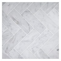 Herringbone Mosaic 2 x 6 Tile | Carrara Honed Marble