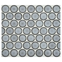 Penny Round Mosaic | Blue Frost Gloss | Complete Tile ...