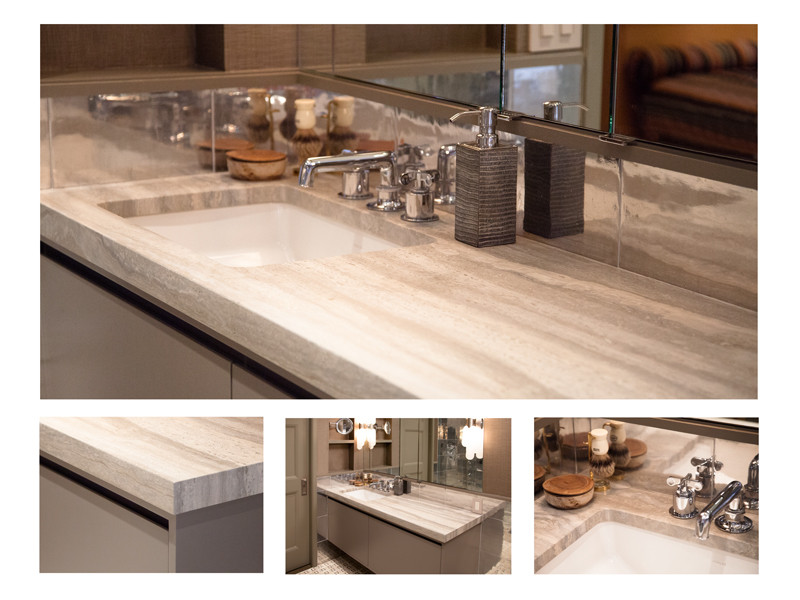 Recycled Material Countertops Recycled Aluminum Master Bath | Travertine Vanity Top