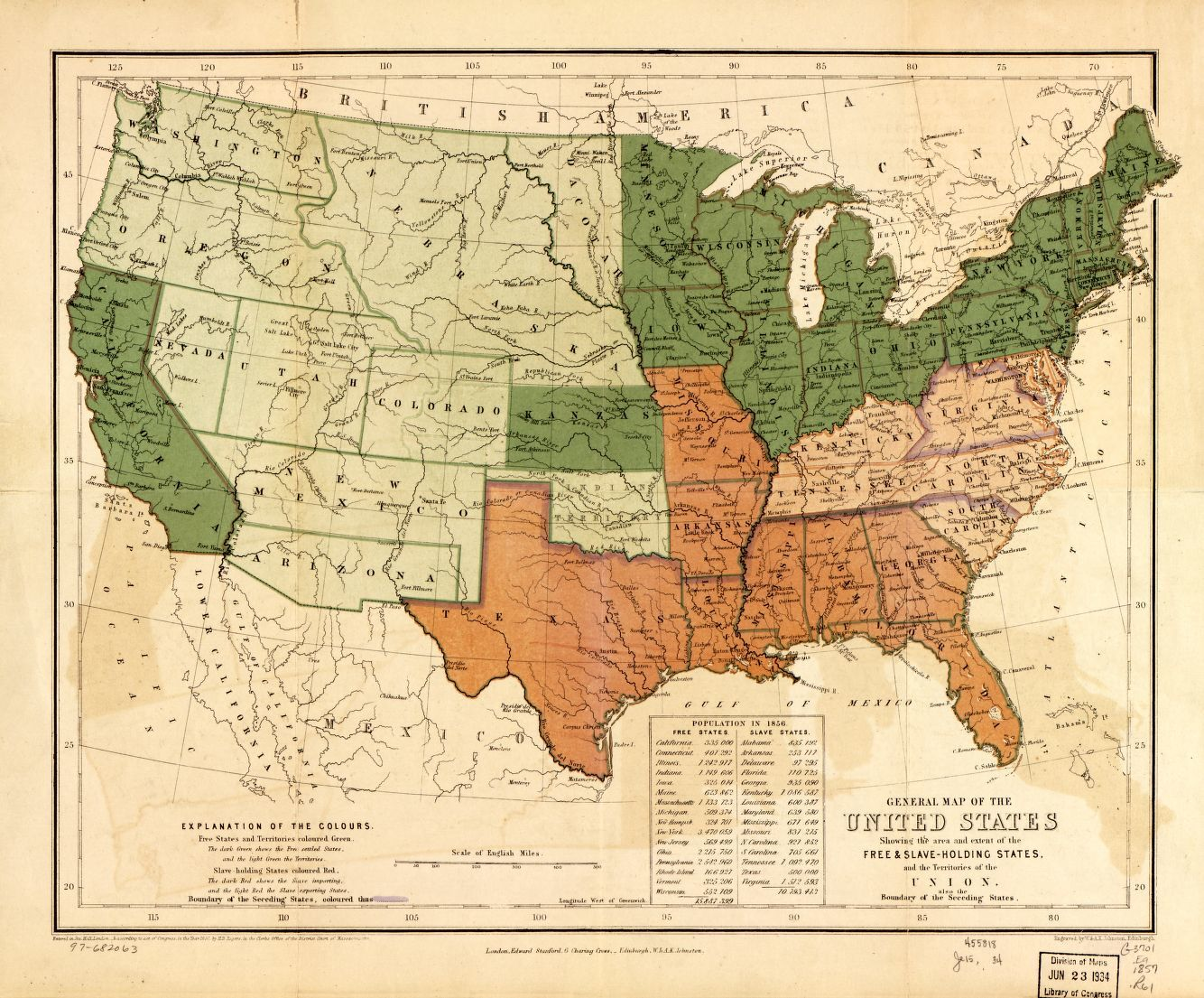 General Map Of The United States Showing The Area And Extent Of The Free Slave Holding States And The Territories Of The Union Also The Boundary Of The Seceding States