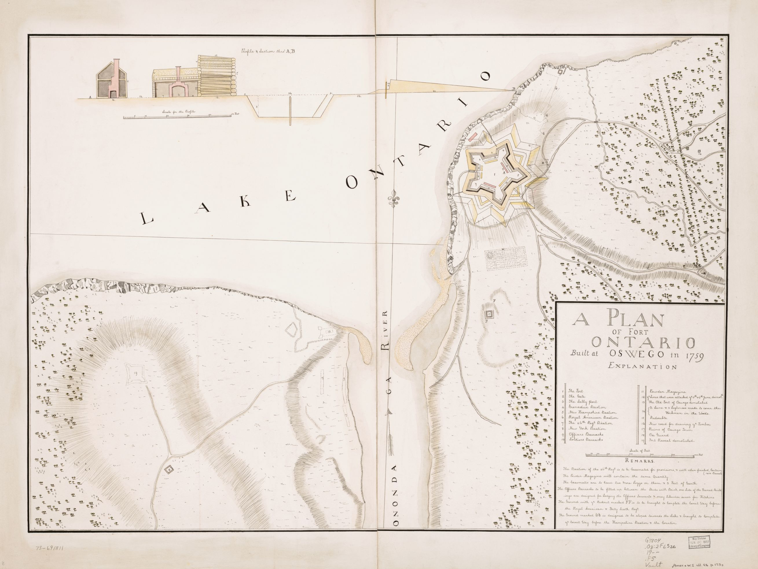A Plan Of Fort Ontario Built At Oswego In