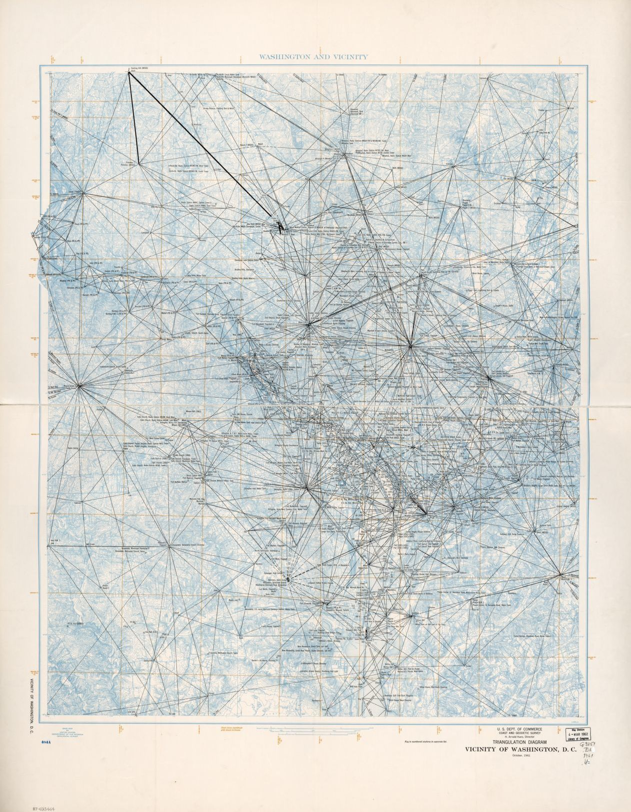 hight resolution of triangulation diagram vicinity of washington d c october 1961 library of congress