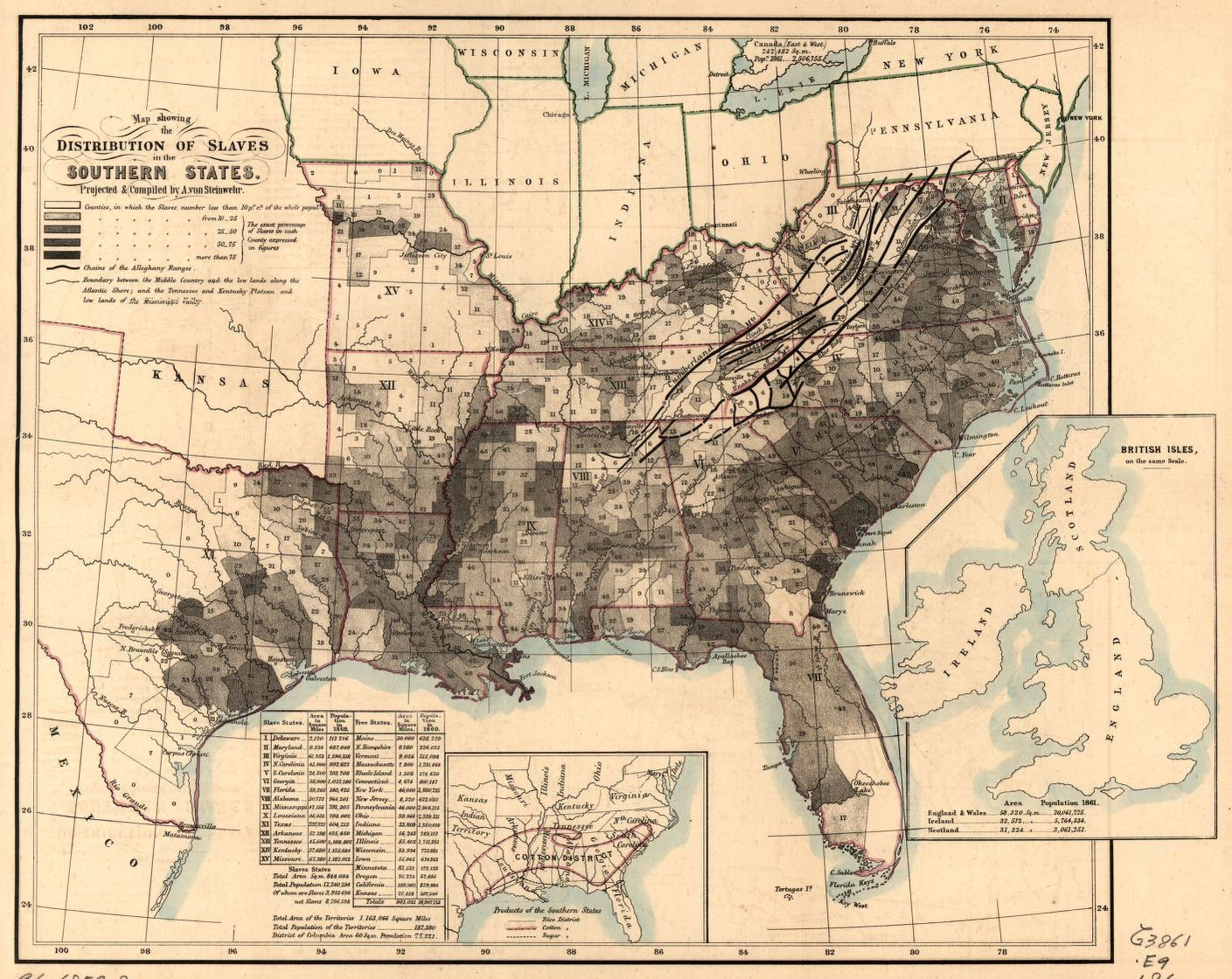 Map Showing The Distribution Of Slaves In The Southern