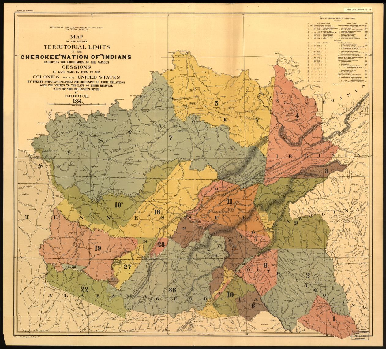 Map Of The Former Territorial Limits Of The Cherokee