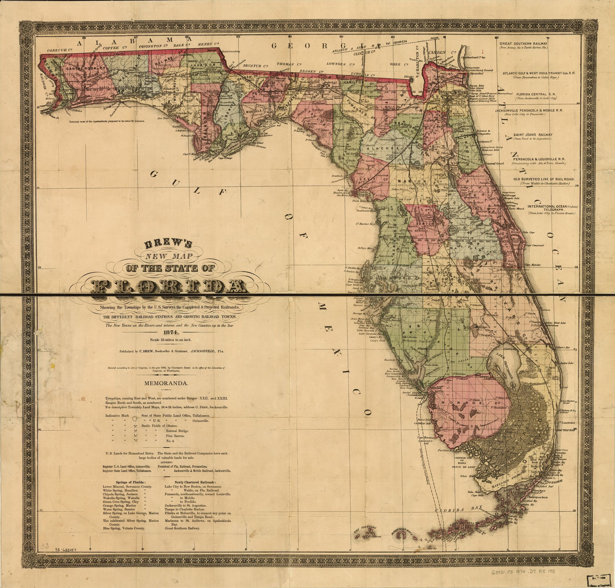 Drew S New Map Of The State Of Florida Showing The