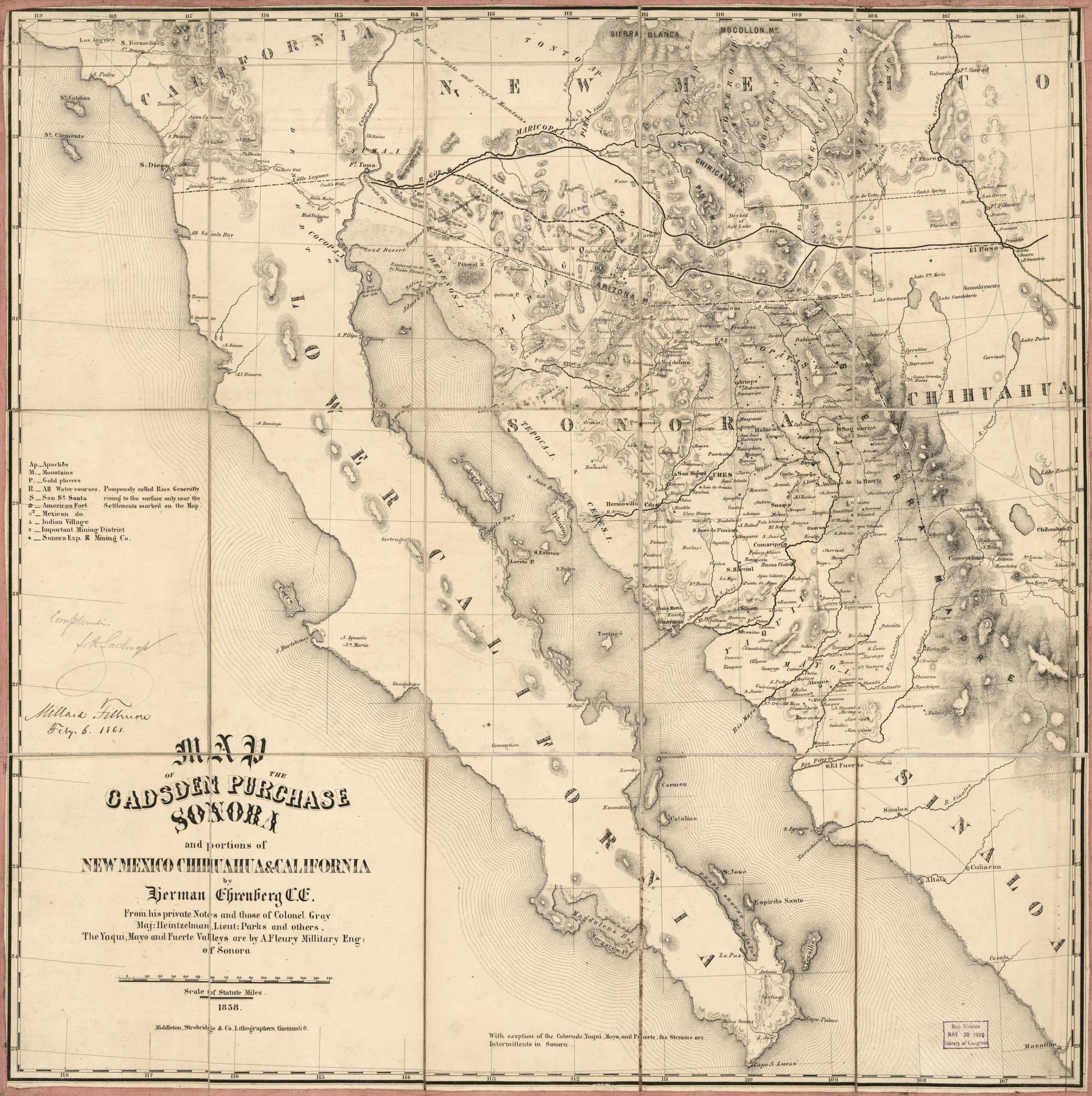 Map Of The Gadsden Purchase Sonora And Portions Of New