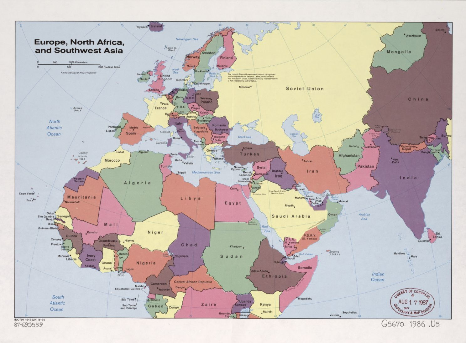 Europe North Africa And Southwest Asia