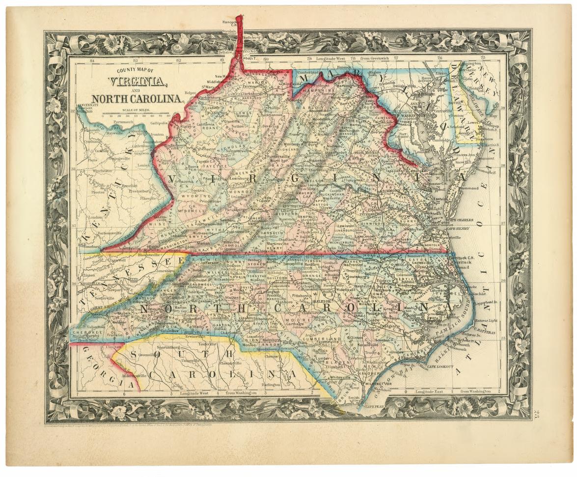 County Map Of Virginia And North Carolina