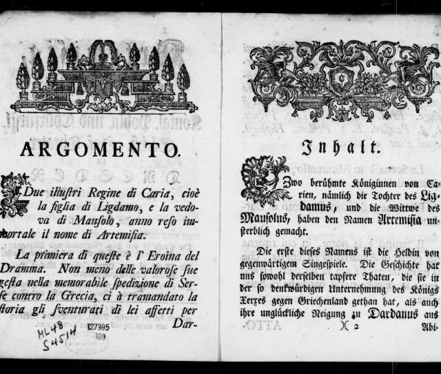 Albert Schatz Collection   Artemisia Libretto German Italian Musschatz   Library Of Congress