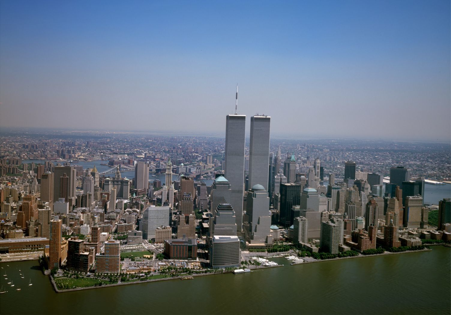 Aerial view of New York City, with the World Trade Center