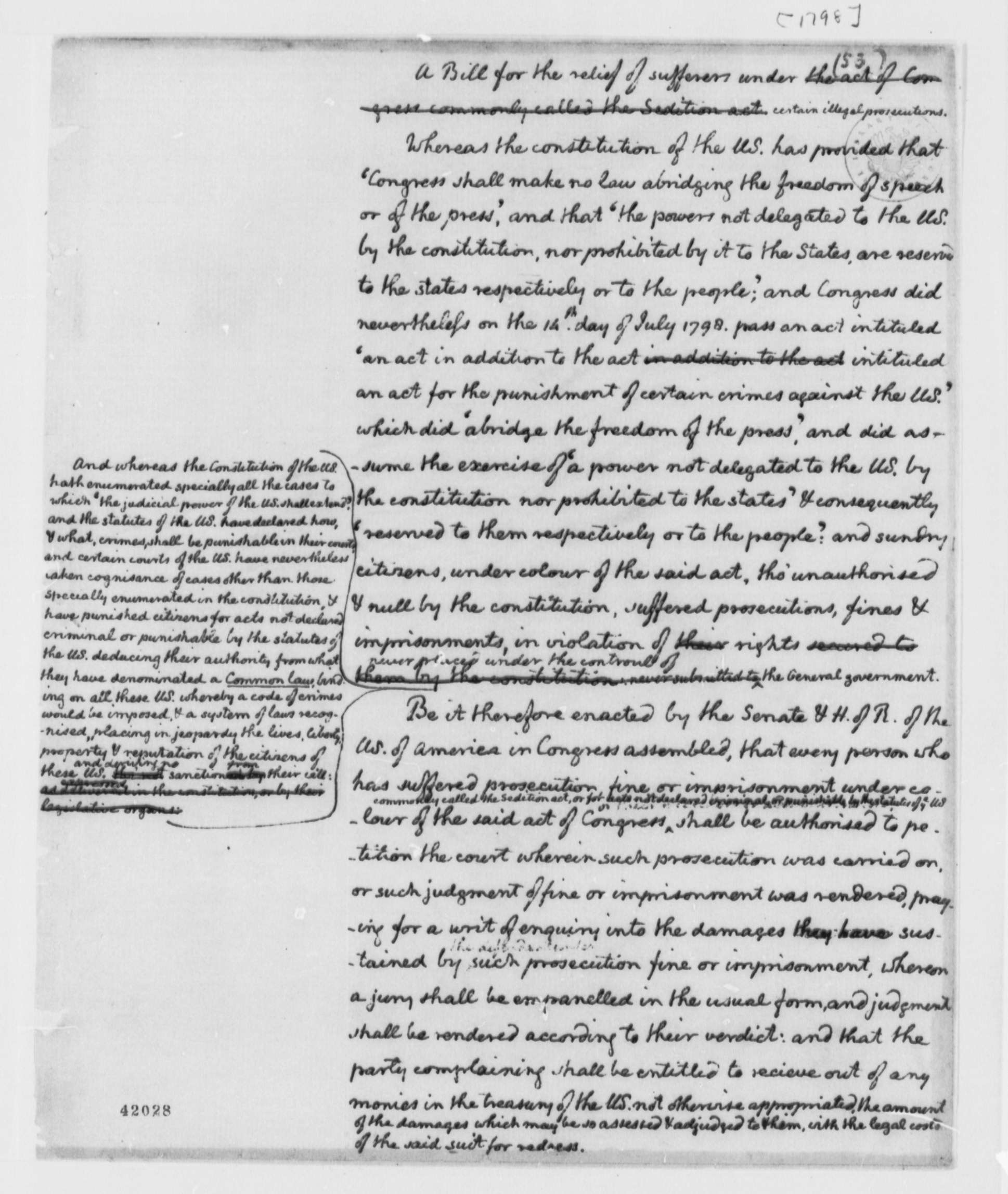 Congress Draft Alien Sedition Acts