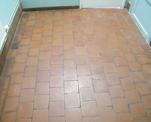 Cloakroom quarry tile before cleaning